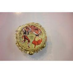 Tamburellino siciliano cm 4,2 orecchini decorazione bordo dorato