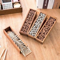 - South Korea creative stationery lace hollow wooden pencil case, pencil box multifunction students - Three trees home supplies stores Laser Cutter Ideas, Laser Cutter Projects, Cnc Projects, Wooden Pencil Box, Pencil Boxes, Gravure Laser, Laser Cut Wood, Laser Cutting, Pen Case
