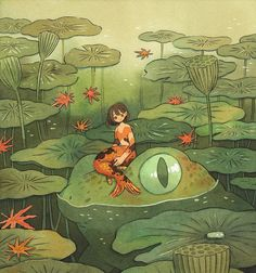Print of the ink illustration 'Koi and Frog'. Art And Illustration, Frosch Illustration, Ink Illustrations, Watercolor Illustration, Illustration Techniques, Frog Drawing, Background Drawing, Frog Art, Watercolor And Ink