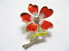 Orange Enamel Flower Brooch Vintage Gerry's by GotMilkGlassAndMore, $9.95