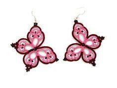 Rosa e rosso orecchini di vino Rainbow Butterfly