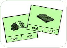 Print de kaarten op een leuke kleur (of zoals ik, op de kleur van de passende kern), lamineer en knip de kaarten. Voeg er nog enkele wasknijpers aan toe en je hebt een eenvoudig spel waarbij de lee... Dutch Language, Grade 1, Kids Learning, Spelling, Worksheets, Preschool, Classroom, Teaching, Education