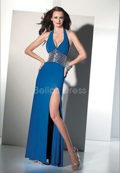 Beatutiful Natural Waist Floor Length Chiffon Halter Prom Party Dresses