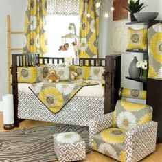 Overall the room is a little much but I like the bedding. Really like the yellow/white/grey combo!