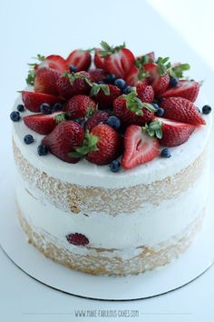 Light chiffon cake layers filled with macerated strawberries and luscious mascarpone cream frosting.