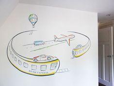 Muurschildering met voertuigen voor jongens kinderkamer. Treinen, vliegtuig, auto's, vrachtwagen, luchtballon. Ontwerp en realisatie door BIM Muurschildering.   mural painting vehicles: train, cars, plane, truck, air balloon