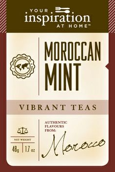 Moroccan Mint Tea  A North African favourite, mixing the subtle fragrance of green tea and spearmint, peppermint, cinnamon and licorice.  Delicious!