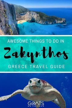 Thanks to it& crystal clear waters, Zakynthos, is one the best diving and snorkelling spots in the world for spotting turtles and other incredible marine life - find your Greece itinerary here Europe Travel Tips, European Travel, Travel Guides, Places To Travel, Travel Destinations, Travel Goals, Greece Itinerary, Greece Travel, Stuff To Do