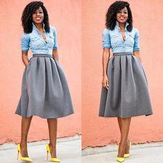 Denim Shirt x Full Midi Skirt