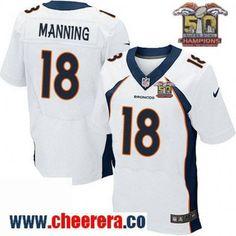 Men's Denver Broncos #18 Peyton Manning New White 2016 Super Bowl 50th Championship Patch Stitched NFL Nike Elite Jersey