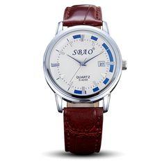 Sale 11% (5.99$) - SBAO Watch Men PU Leather Brown Band Wrist Quartz Watch S-A030