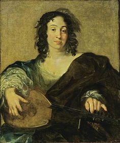A Young Woman Tuning a Lute. Nicolaes Berchem (Dutch, 1620-1683). Oil on canvas.  This genre-like portrait is rather unusual in Berchem's oeuvre: there are only four, including the present one. Berchem's preference was pastoral landscapes in the Italianate manner.