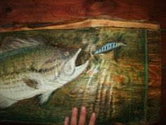 Large Mouth Bass and Lure 36X19 rustic plaque by oceanarts10, $249.00 Largemouth Bass, Rustic, Cool Stuff, Future, Projects, Painting, Vintage, Country Primitive, Log Projects