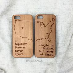Long Distance Relationship Wood iPhone 6s Case by ArlaLaserWorks