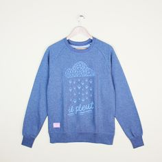 Organic Sweatshirt with diamond shaped rain and the French for it's raining.