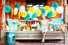 yellow, teal, and pops of pink color inspiration for play room