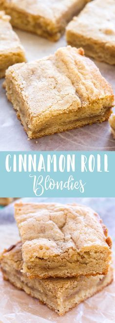 These delicious Cinnamon Roll Blondies have a layer of gooey cinnamon roll filling! These homemade blondies are rich, buttery, and taste like a cross between a gooey homemade cinnamon roll and a snickerdoodle cookie! Mini Desserts, Christmas Desserts, Just Desserts, Delicious Desserts, Christmas Cookies, Oreo Dessert, Eat Dessert First, Dessert Bars, Blondie Dessert