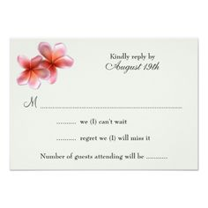 Pink Plumeria Tropical Flowers Wedding RSVP 3.5x5 Paper Invitation Card