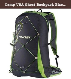 Camp USA Ghost Backpack Black / Green 15L. FEATURES of the Camp USA Ghost Backpack Packs into a tiny pouch that can be carried on the waist when not in use Updated for 2014 with a new superlight and strong fabric New ventilated mesh shoulder straps Load adjustment system on the waist belt Lightweight bungee straps with Hypalon reinforcements for carrying trekking poles Bungee straps on the back for load compression or carrying extra layers Hydration compatible.