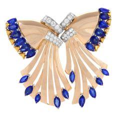 Oscar Heyman Bros. Retro Sapphire Diamond Gold Double Clip Brooch
