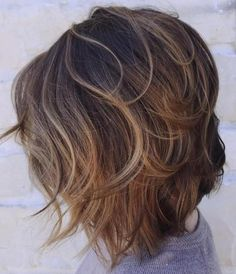Brown Layered Bob With Subtle Highlights.