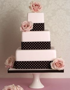 Polka Dot Bow and Pink Flower Wedding Cake