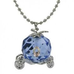 A playful necklace that features Cinderella's carriage made from a large blue glass crystal that's faceted for some sparkle. It's on a long ball chain necklace with a magic castle charm at the closure.