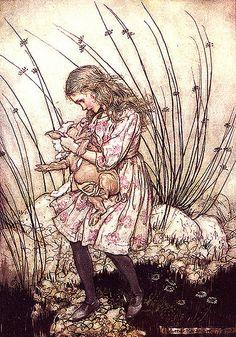 Vintage Alice Illustration--Alice and the Pig--Arthur Rackham