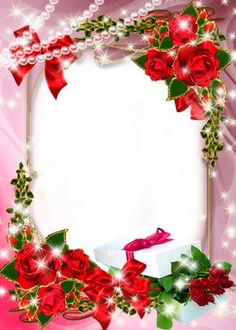 Beautiful Pink Transparent Photo Frame with Roses and Gift Rose Frame, Flower Frame, Birthday Frames, Picture Borders, Frame Background, Montage Photo, Frame Clipart, Floral Border, Flower Wallpaper