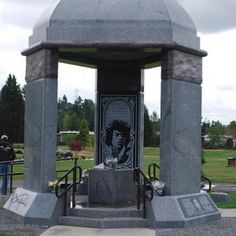 Though not particularly funny or witty, the tombstone of legendary musician and guitarist Jimi Hendrix is a splendor in itself.  Hendrix is interred at Greenwood Memorial Park in Renton, Washington, although in a different location from where he was initially buried.  More than 20 years after his 1970 death, Hendrix's body was moved to a separate location in the park, complete with a stone pavilion and space for other family members on the same plot.