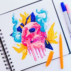 Day 276 - #1MonthMug Day 5 - Decided to use a different sketchbook for today because I was reallyyyy missing using copics, no regrets, had loads of fun with them  You can see my other rough pencil skull sketches in my Instagram Stories as usual !