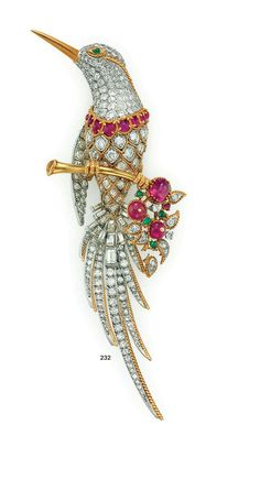 DIAMOND, RUBY AND EMERALD BIRD BROOCH,  BY VAN CLEEF & ARPELS