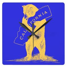I Love You California--Blue and Gold Square Wall Clock