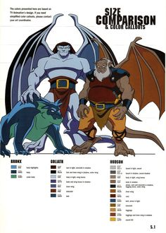 Gargoyles size and color chart - 4 by TheBarracuda on deviantART