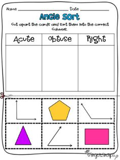 Classroom Freebies: Types of Angles Sort
