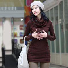 Mujeres moda suéter 2015 otoño invierno de punto Turtlene suéteres y jerseys de manga larga del bolsillo flojo ocasional Sweter Mujer en Jerseys de Moda y Complementos Mujer en AliExpress.com | Alibaba Group