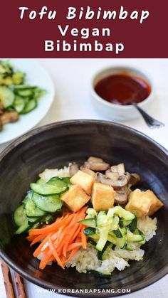 You can make this vegan bibimbap without a trip to a Korean market. This simple bibimbap recipe uses vegetables you can find in your local grocery stores. Vietnamese Recipes, Thai Recipes, Asian Recipes, Asian Foods, Vegan Bibimbap, Bibimbap Recipe, Korean Food, Chinese Food, Potluck Recipes