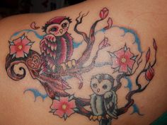 owl 26 Gorgeous Cherry Blossom Tattoo For 2013 Designs