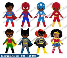 African American Superhero Clipart Superhero by SandyDigitalArt