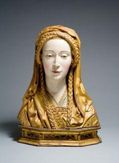 Busto relicario de un Santo Femenino, realizado en los Países Bajos en el siglo 16 (fuente).