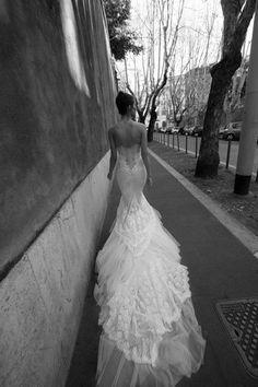 stunning wedding dress ,lace wedding dress .long train wedding dress ,black and white