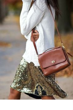sneakers and pearls, street style, layer your sequined skirt with a jumper for a cool look, trending now.jpg