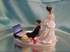 Wedding Cake Topper Computer Laptop Video Game Gamer Gaming Over Groom Funny