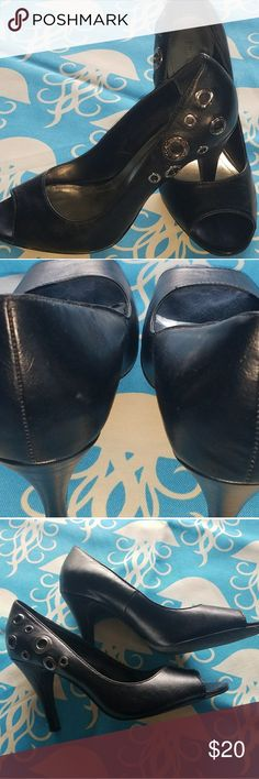 Black Style & Co Heels Great condition black heels with silver grommets on the top outsides.  Style Harley Style & Co Shoes