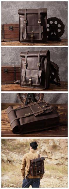 Original Design Handmade Top Grain Leather Backpack Travelling Backpack Laptop Backpack MG33 -------------------------------- Overview: Design: Vintage Genuine Leather Backpack In Stock: 3-5 Business