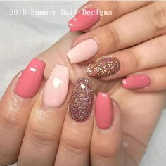 40 Precise Combinations Design and Color for Summer Nail Art - Nails - Nageldesign Fall Nail Art Designs, Cute Summer Nail Designs, Acrylic Nail Designs, Summer Design, Solar Nail Designs, Fall Designs, Nail Design Glitter, Nails Design, Glitter Nails