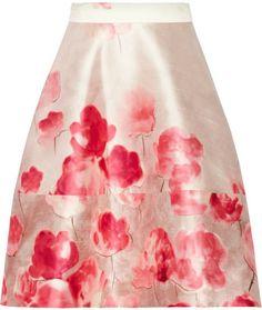 Lela Rose Floral-print silk and wool-blend shantung skirt