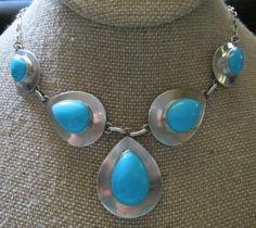 Sterling Silver Turquoise Necklace 23.6 grams