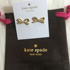 """Kate Spade Pave Bow Earrings Kate Spade pave bow earrings. 12 karat gold plated metal. 14 karat gold filled posts. Approx. 3/4"""" wide. Clear crystals. kate spade Jewelry Earrings"""