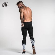 Ripped Jeans For Men Skinny Slim Fit Ankle Tight Light Weight Super Stretch Cotton Spandex Light Ripped Jeans, Ripped Biker Jeans, Light Blue Skinny Jeans, Jeans Slim, Super Skinny Jeans, Blue Jeans Mens, Denim Jeans Men, Hip Hop, Belle Silhouette